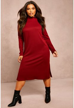 Recycled Roll Neck Rib Side Split Tunic, Wine, FEMMES