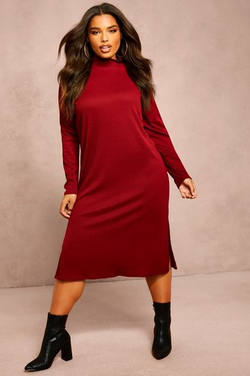 Womens Wine Recycled Roll Neck Rib Side Split Tunic