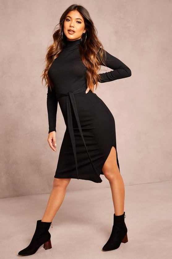 Black Recycled Roll Neck Belted Rib Midi Dress