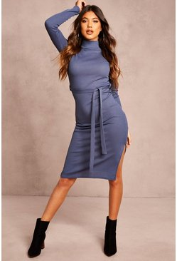 Blue Recycled Roll Neck Belted Rib Midi Dress