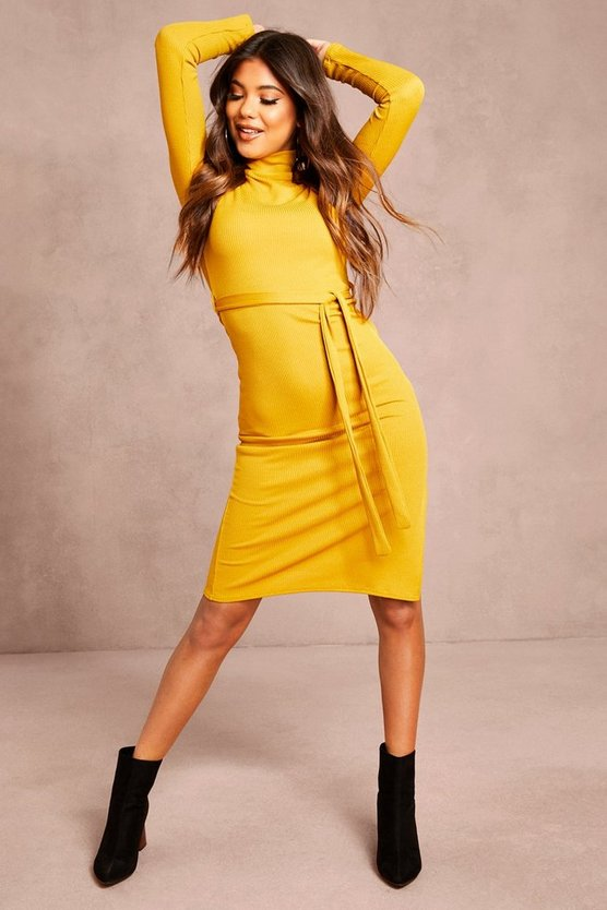 Mustard Recycled Roll Neck Belted Rib Midi Dress