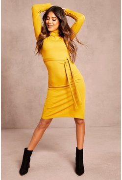 Recycled Roll Neck Belted Rib Midi Dress, Mustard