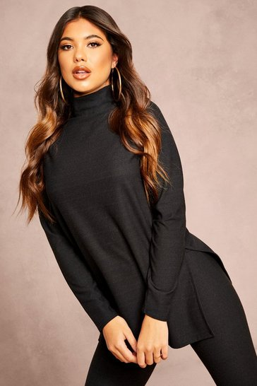 Womens Black Recycled Roll Neck Rib Jumper