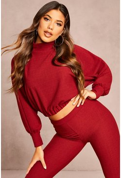 Wine Recycled Roll Neck Rib Batwing Crop Top