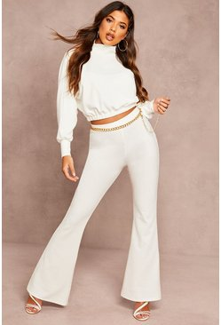 Womens Ecru Recycled Rib Fit And Flare Trousers