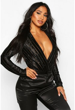 Womens Black Velvet Mesh Stripe Long Sleeve Bodysuit