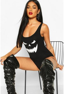 Womens Black Halloween Face Print Body