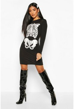 Dam Black Halloween Skeleton Print Dress