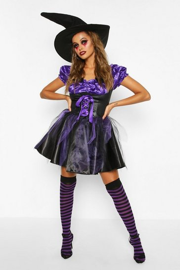 Womens Purple Halloween Witch Costume With Hat