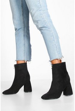 Black Zip Front Block Heel Shoe Boots