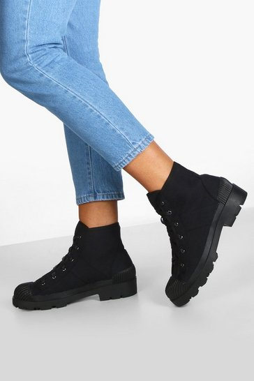 Black Lace Up Chunky Hiker Boots
