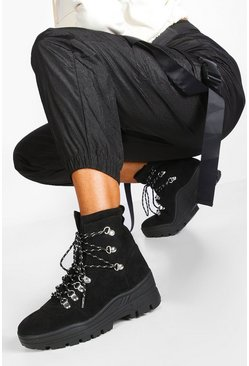 Black Lace Up Cleated Biker Boots