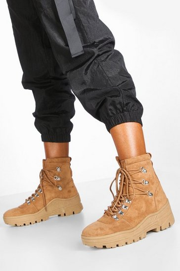Womens Camel Lace Up Cleated Biker Boots