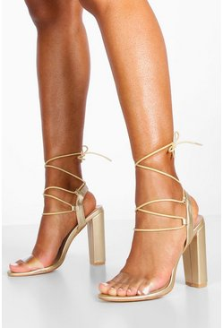 Womens Gold Clear Strap Block Heels