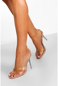 Nude Clear Heel Sling Back Sandals