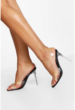 Black Clear Heel Sling Back Sandals