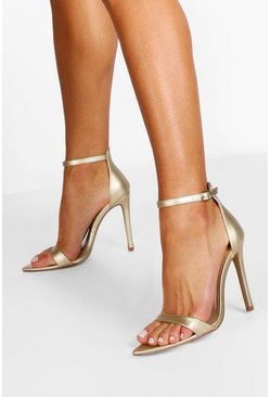 Pointed Toe 2 Part Heels, Gold