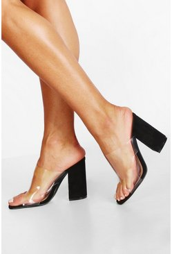 Womens Black Block Heel Clear Peeptoe Mules