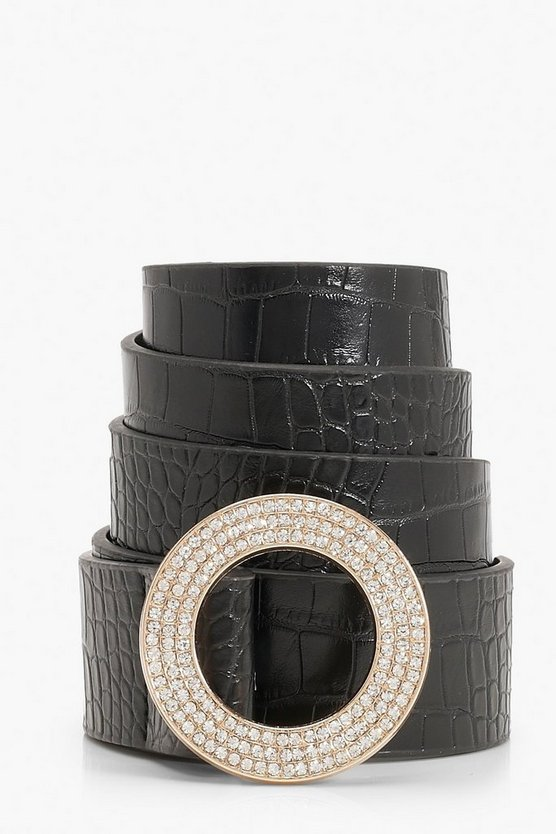 Diamante Ring Buckle Belt