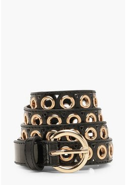 Womens Black Patent Eyelet Buckle Belt