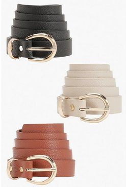 3 Pack Tonal Snake Buckle Belts, Black