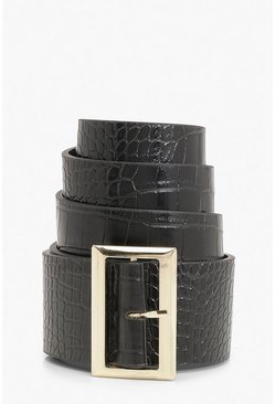 Gold Square Buckle Croc Detail Waist Belt, Black, MUJER