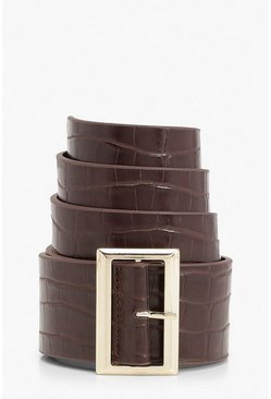 Gold Square Buckle Croc Detail Waist Belt, Chocolate