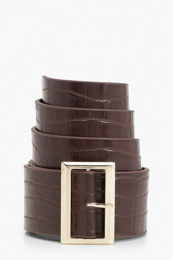 Gold Square Buckle Croc Detail Waist Belt