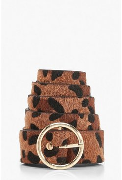 Brown Ring Buckle Detail Leopard Print Belt