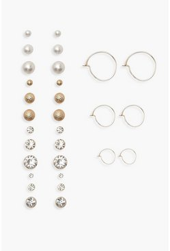 Pearl Diamante and Hoop Earrings 15 Pack, Gold