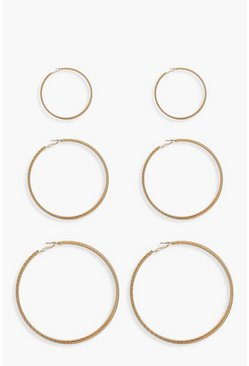 3 Pack Twist Hoop Earrings, Gold