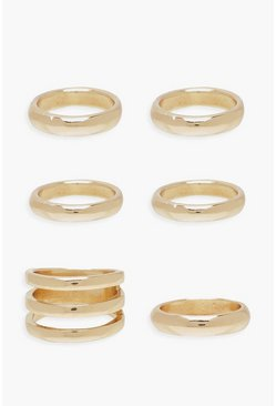 Chunky Gold Band Stacking Rings