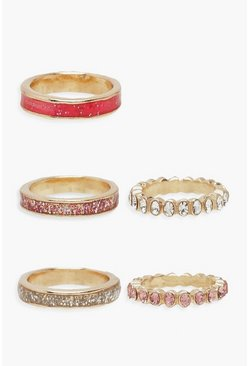 Diamante & Texture Stacking Rings, Pink