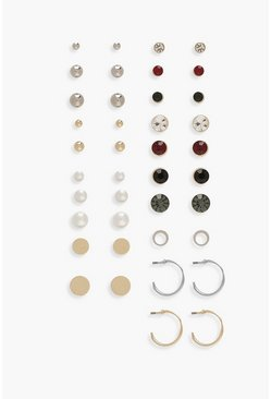 Stud And Hoop Earrings 20 Pack, Gold