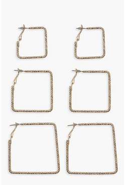 Gold Textured Square Multi Earring Pack