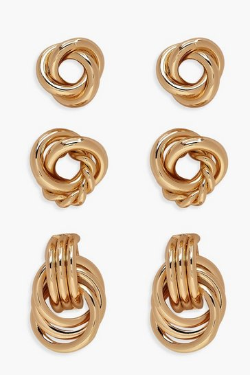 Gold Twist Knot Stud Pack
