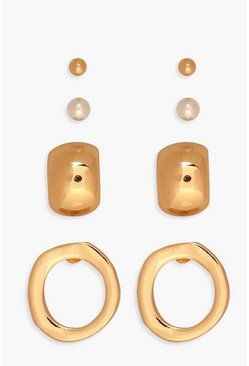 Multi Stud And Hoop Earring Pack, Gold