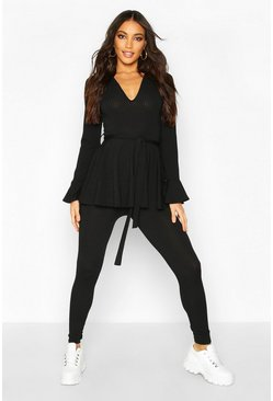 Jumbo Rib Long Sleeve Tie Waist & Flare Trouser Co-ord, Black