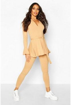 Jumbo Rib Long Sleeve Tie Waist & Flare Trouser Co-ord, Camel