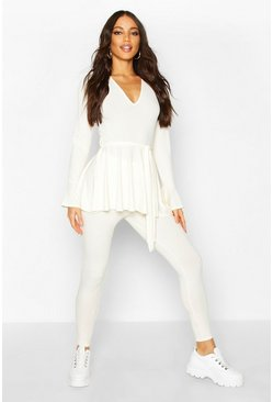 Cream Jumbo Rib Long Sleeve Tie Waist & Flare Trouser Co-ord