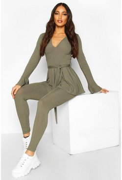 Jumbo Rib Long Sleeve Tie Waist & Flare Trouser Co-ord, Khaki