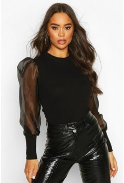 Black Rib Organza Mesh Puff Sleeve Top