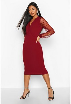 Polka Dot Mesh Sleeve Wrap Midi Dress, Berry