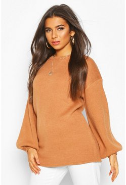 Balloon Sleeve Knitted Jumper, Camel