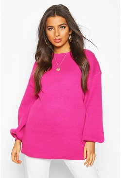 Pink Balloon Sleeve Knitted Jumper