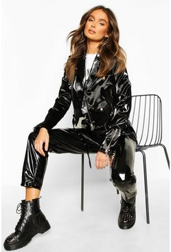 Womens Black Patent Pu Biker Jacket