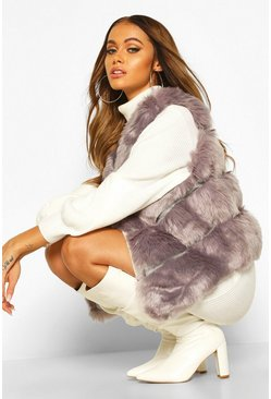Panelled Faux Fur Gilet, Grey