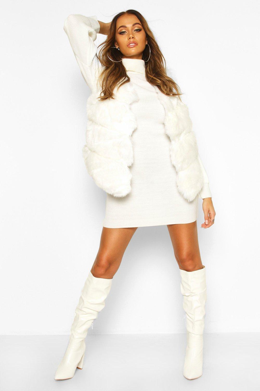 70s Jackets & Hippie Vests, Ponchos Womens Panelled Faux Fur Gilet - white - Xss $80.00 AT vintagedancer.com