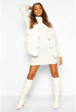 Womens Ivory Panelled Faux Fur Gilet
