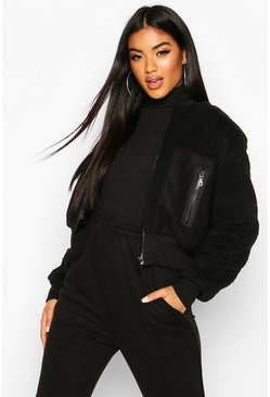 Black Teddy Faux Fur Bomber
